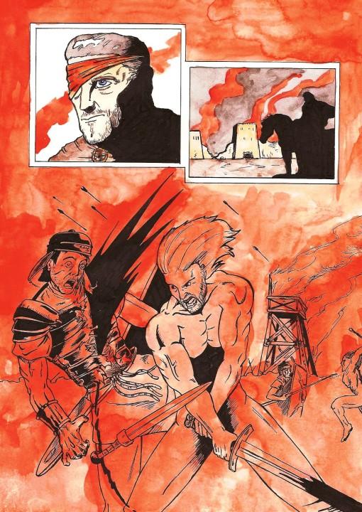 Página de combate, especialmente sangrienta. Me base en la imagen de Kirk Douglas para dibujar a mi Anibal (siempre me ha encantado este actor en Espartaco).