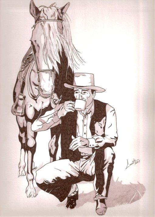 Dibujo própio a tinta y acuarela, mi pobre homenaje a John Wayne.