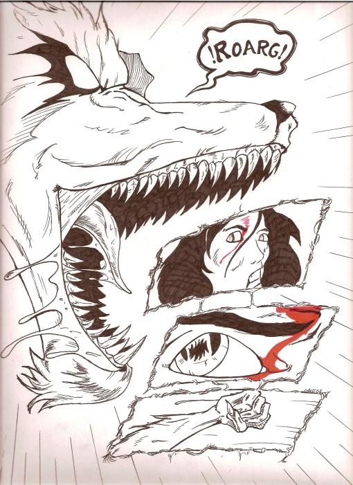 """La quinta página de la historia breve títulada """"Lobo""""."""